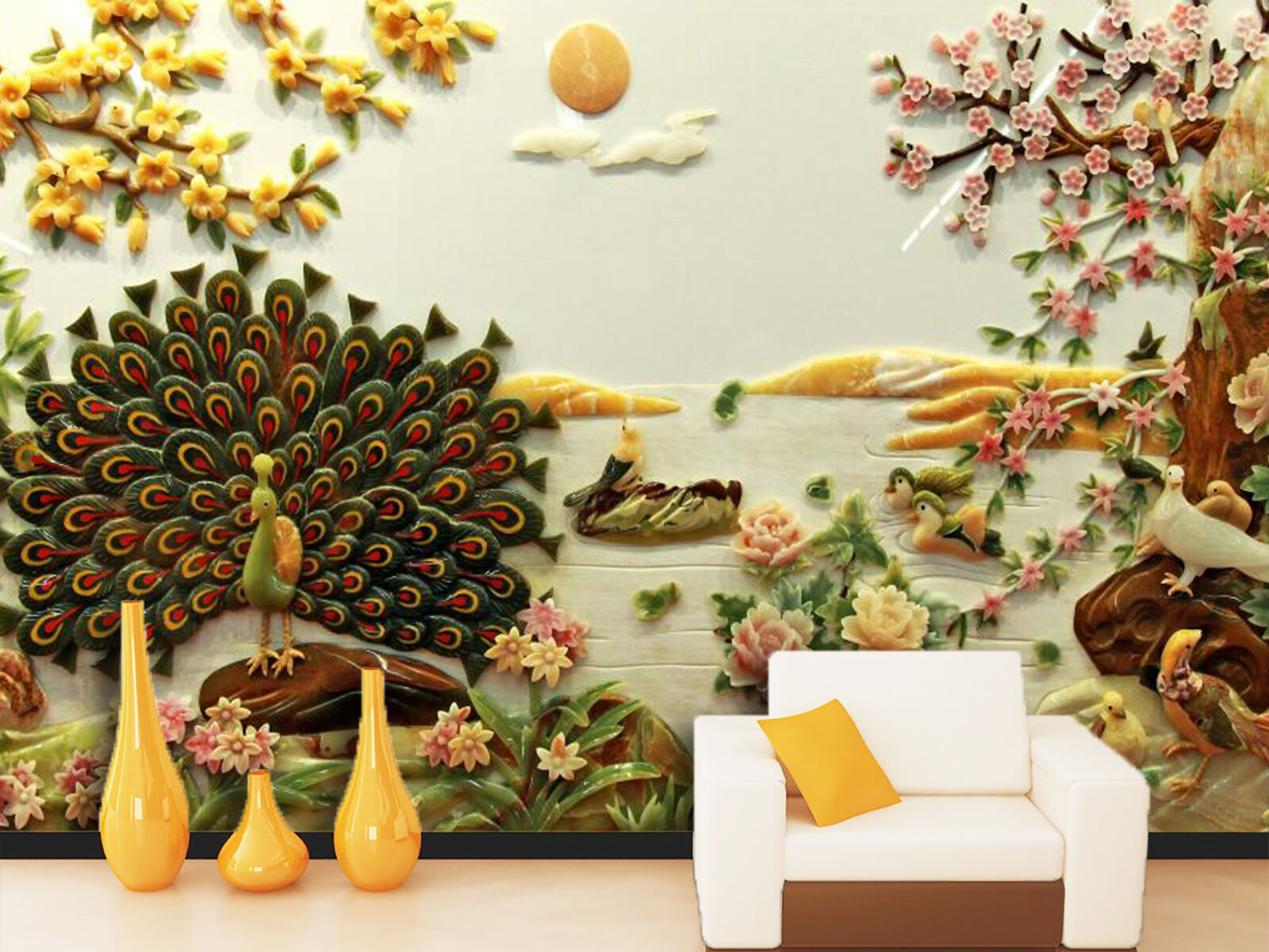 3D écran Paon 711  Photo Papier Peint en Autocollant Murale Plafond Chambre Art