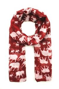 Maroon-Elephant-Animal-Print-Ladies-Fashion-Scarf-Wrap-Sarong-Long-Soft-Warm