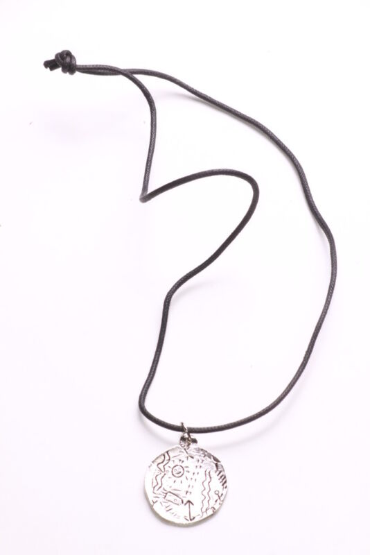 Doodle Engraved Round Chrome Pendant & Black Strand Necklace(zx295)