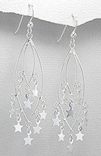 2.79 G SOLID STERLING SILVER Confettis Star Dangle Boucles d/'oreilles 65 mm belle