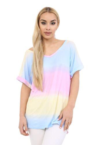 New ladies womens V Neck Rainbow Print Turn Up Short Sleeve Loose Baggy T Shirt