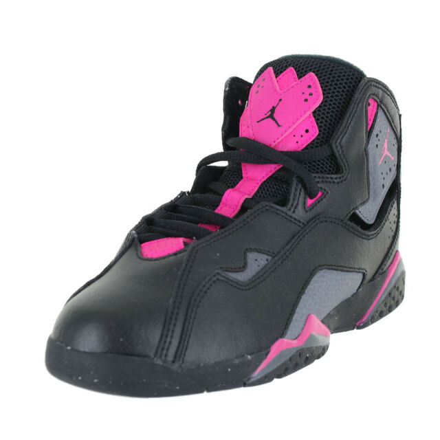 d60c81b450bc08 Jordan True Flight GP 342775-009 Black Grey Deadly Pink Preschool US ...