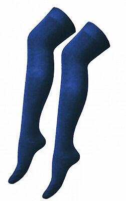 Einfach Womens Girls Navy Blue Over The Knee Socks Plain Stretchy School Socks One Size