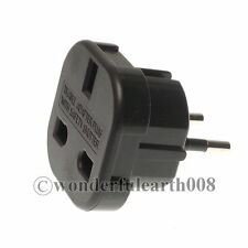EU/UK to Schuko Travel Adapter AC Power Plug Max 240V 16A Black Color