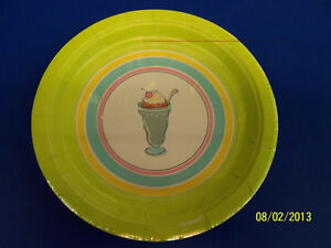 """Sweet Soiree Ice Cream Cookout Picnic Summer Pool Party 7"""" Paper Dessert Plates"""