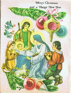 Image Is Loading Vintage Holy Land Christmas Card Nativity Scene Virgin