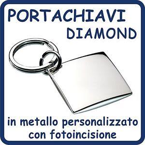 Portachiavi-DIAMOND-in-ACCIAIO-Cromato-PERSONALIZZATO