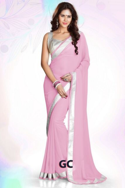 a851d7dc088ba5 Pink Bollywood Chiffon Plain Silver Border Party Wear Saree Sari Curtain  Dress