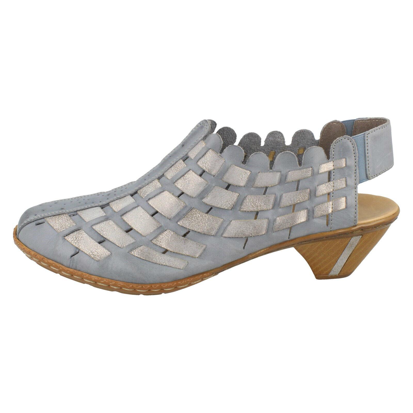 Damen Rieker & & & 039;46778& 039; Blau 13) Kombi Leder Freizeit Slingback Schuhe df6e94