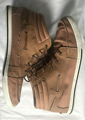 aldo high top canvas leather sneakers men's 10 brown skate