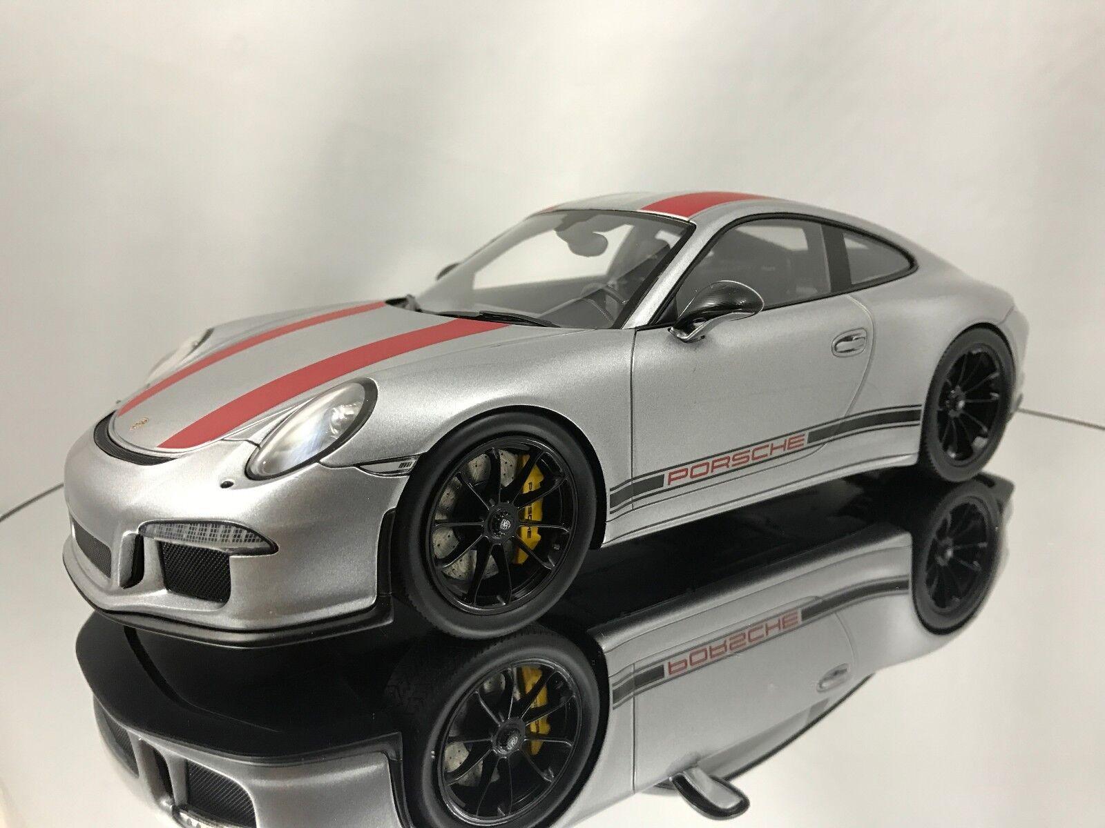 Spark PORSCHE 911 R (991) ARGENT & ROUGE avec Showcase Résine Voiture Modèle 1 18