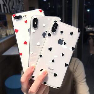 Slim-Case-For-iPhone-XS-Max-XR-6-7-8-Plus-5-Cover-Cute-Love-Heart-Clear-Soft-TPU