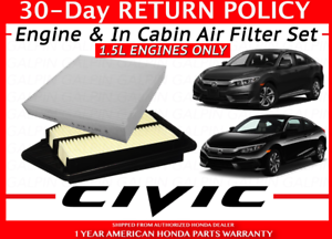 COMBO ENGINE /& CHARCOAL CABIN AIR FILTER For 2016-2019 HONDA CIVIC 1.5L TURBO