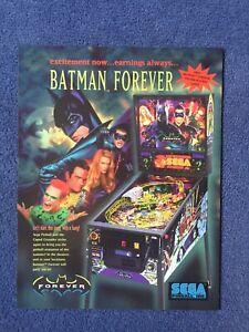 SEGA BATMAN FOREVER 1995 ORIGINAL PINBALL FLYER MINT.