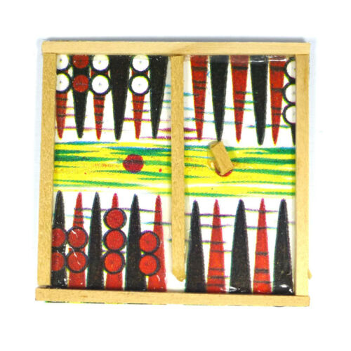 CREAL 71080 Backgammon Tavola 1:12 per casa delle Bambole Nuovo #