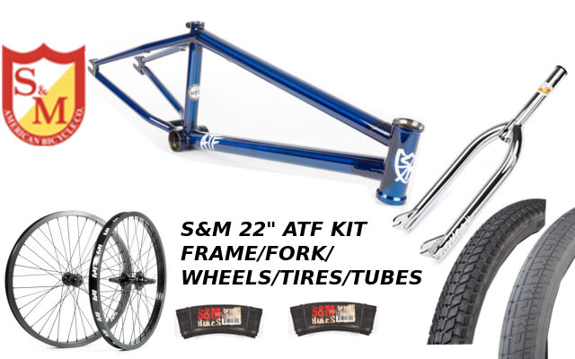 S&m 55.9cm ATF quadro 22.125 Trans BLUCromo 22 Set Pneumatici FORCHETTE BMX BICICLETTA