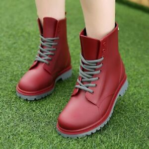 Women's Rainboots Waterproof Shoes Woman Water Shoes Pvc Ankle Boots Sewing Rain by Nobrand