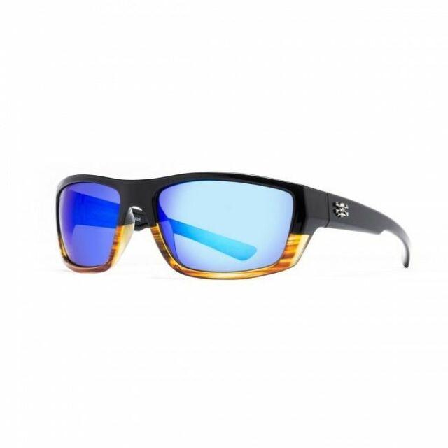 New Calcutta LR1BM Long Range Sunglasses Black Frame Blue Mirror Lens