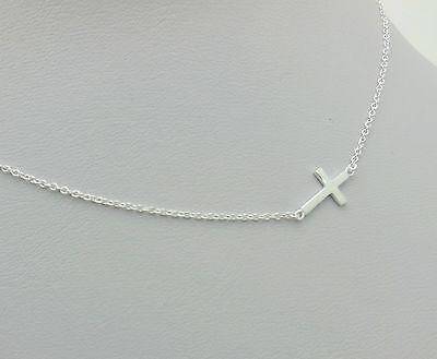 Sterling Silver Sideway Cross Pendant Necklace for Women 16/'/'+1/'/'+1/'/'