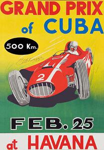 """AD70 Vintage 1950's Grand Prix Cuba At Havana Poster Print A3 17""""x12"""""""