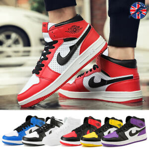 Mens-Unisex-High-Top-Basketball-Shoes-Sneaker-Lace-up-Trainers-Athletic-Leather