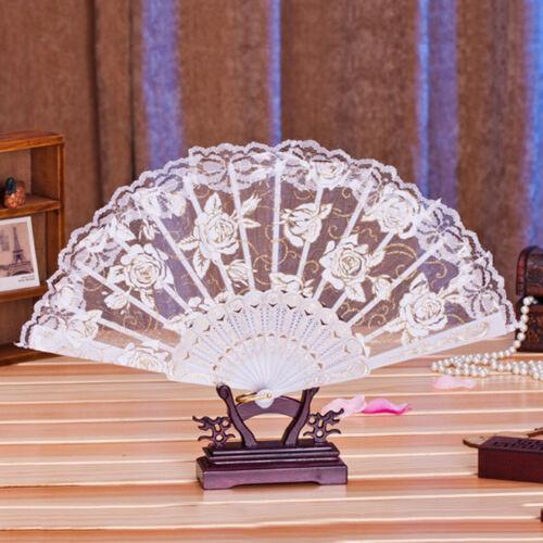Japanese Chinese Retro Folding Flower Lace Dance Fan Hand Held Wedding Fan