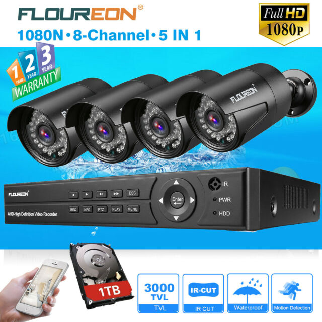 1080P HDMI 8CH AHD DVR 3000TVL Outdoor CCTV HD Security Camera System 1TB HDD