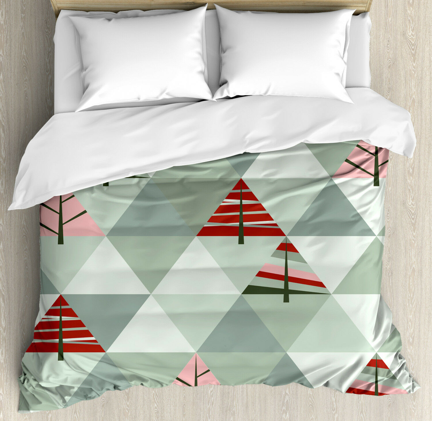 Tree Duvet Cover Set with Pillow Shams Illustration of Triangles Print