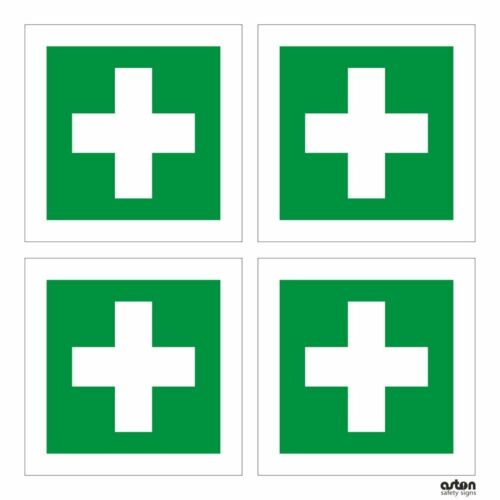 FIRST AID SIGN  100mm X 100mm RIGID PLASTIC PACK OF 4