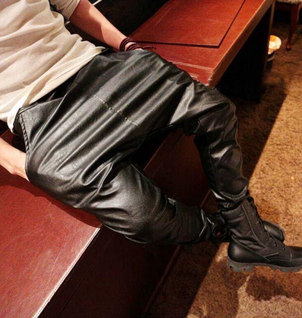 2015 New Fashion Faux Leather Harem Pants Men Drop Crotch Pants Men Baggy Pants