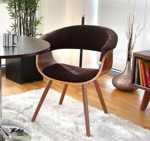 Retro Office Accent Chair Wood Seat Upholstered Vintage Guest Mid Century Mod