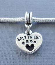 Heart Best Friend Pendant Dog Paw Fits European Charm Bracelet /Necklace C122