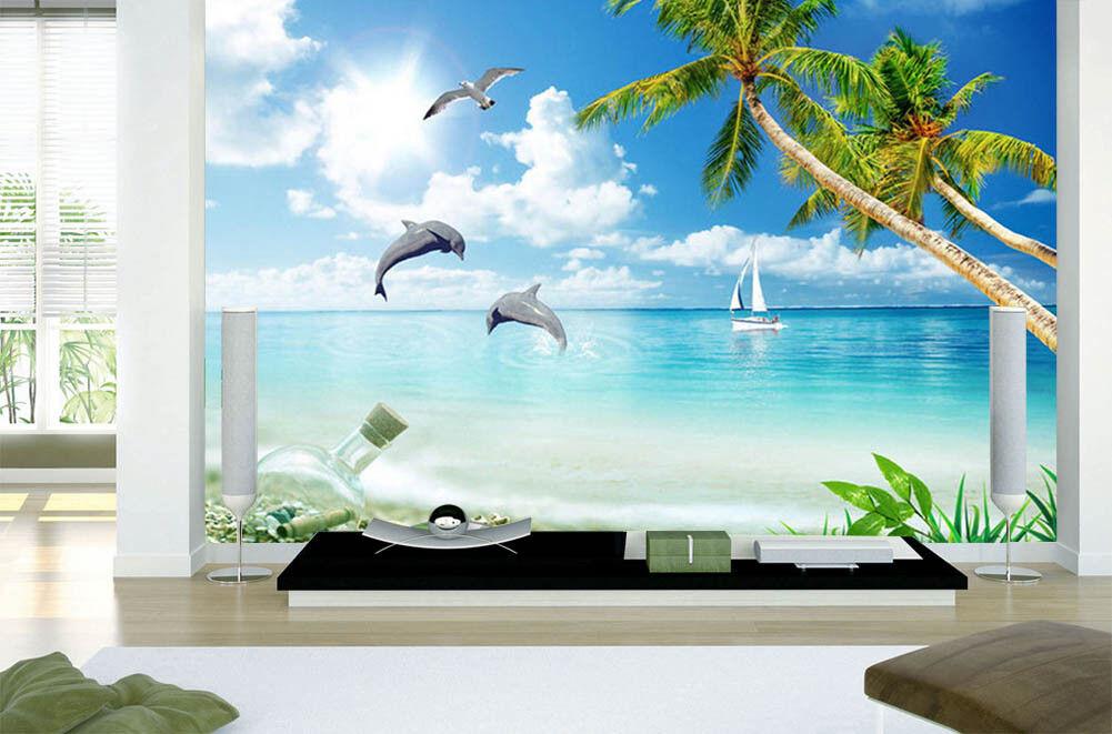 Dolphins Across Water 3D Full Wall Mural Photo Wallpaper Print Home Kids Decor