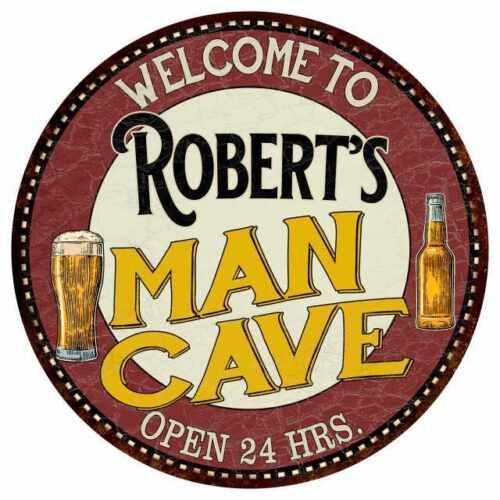 Robert/'s Man Cave Round Metal Sign Kitchen Bar Wall Décor 100140035341
