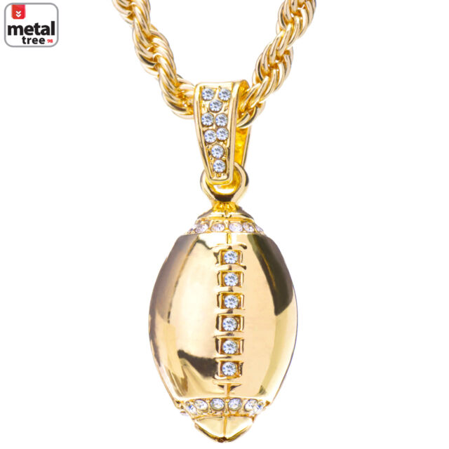 Mens 14k gold plated iced out football pendant chain 24 necklace mens 14k gold plated iced out football pendant chain 24 necklace set aloadofball Image collections
