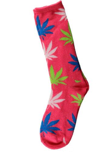 New 12 Pairs Womens Girl Marijuana Weed Leaf Crew Socks Cotton Size 9-11 Fashion