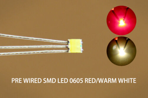 DT0605RWM 20pcs Presoldered litz wired Bicolor REDWARM WHITE SMD Led 0605 NEW