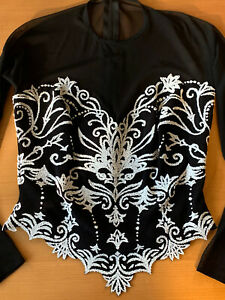 Tadashi-Womens-HOT-Evening-Black-Mesh-White-Beaded-Top-Cropped-Corset-Size-XS