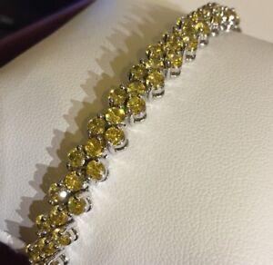 GB-Silver-white-gold-7-034-bracelet-yellow-citrine-Swarovski-Elements-BOXED-PlumUK