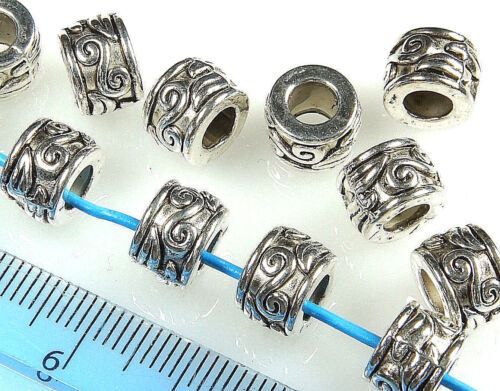 ANTIQUE SILVER~TUBE~TIBETAN STYLE~EUROPEAN~SPACER BEADS~9 x 7 MM~ 4.5 MM HOLE