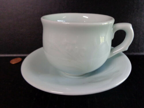 Raised Asian Flower Green Heavy Jadeite Coffee Mug TEA CUP /& SAUCER Set Stamped!