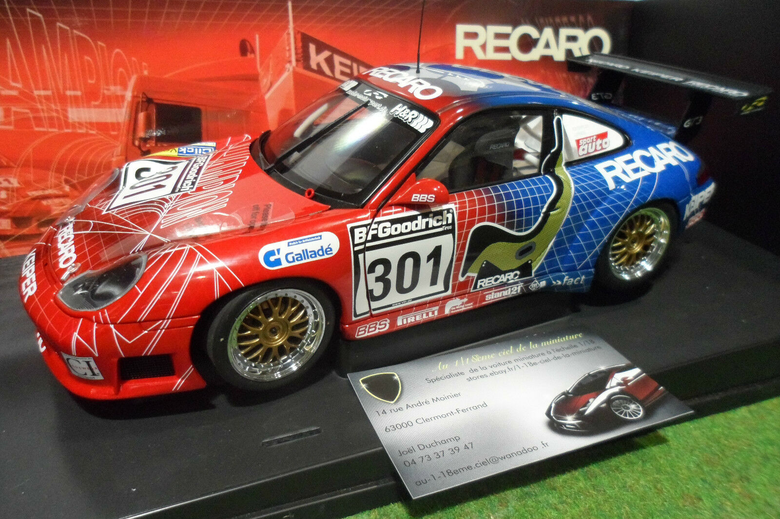 PORSCHE 911 996 GT3 RS  301 RECARO 1 18 AUTOart CI-IMAGEWEAR voiture miniature