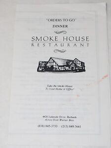 "SMOKE HOUSE RESTAURANT ""To Go"" MENU Burbank across from Warner Bros"