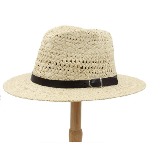 Men Women Straw Panama Hats Sombrero Wide Brim Sunhat Fedora Trilby Summer Caps