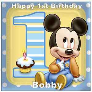 Excellent Mickey Mouse 1St Birthday Personalised Cake Topper Edible Wafer Personalised Birthday Cards Petedlily Jamesorg