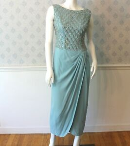 Vintage-Mr-Frank-Designer-Baby-Blue-and-Silver-Beaded-and-Sequin-Evening-Gown