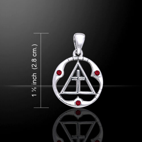 AA Symbol Spiritual Cross Recovery .925 Sterling Silver Pendant by Peter Stone