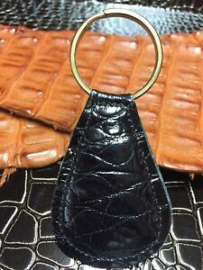 Image Is Loading Alligator Keychain Leather Key Fob Black Genuine