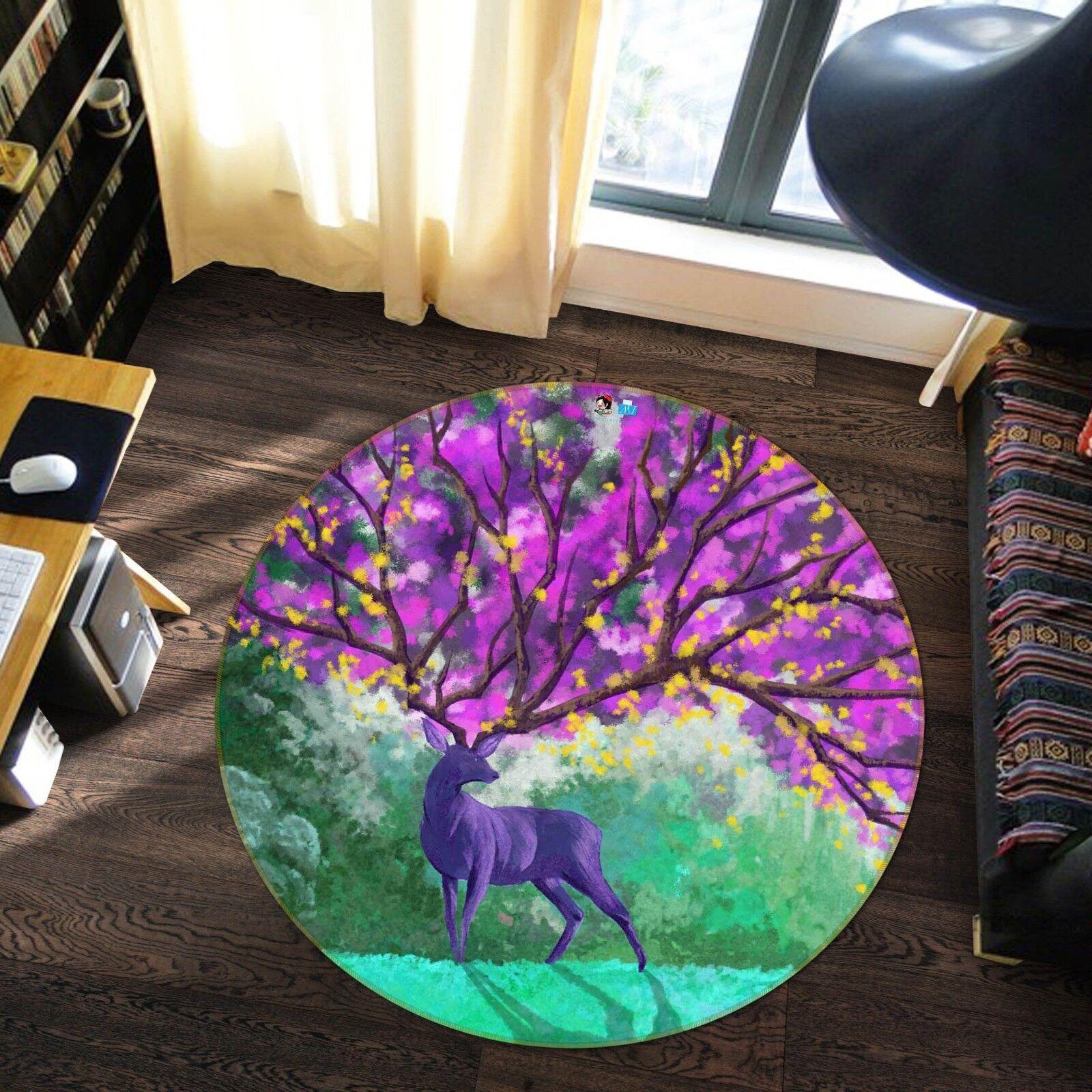 3d árbol púrpura Hirsch 5 antideslizante alfombra de maletero rondas elegante alfombra