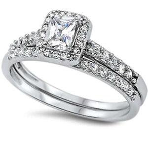 Womens 15CTW EMERALD CUT 925 Sterling Silver CZ Wedding Engagement